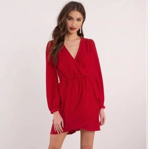ARIANA RED SURPLICE DRESS